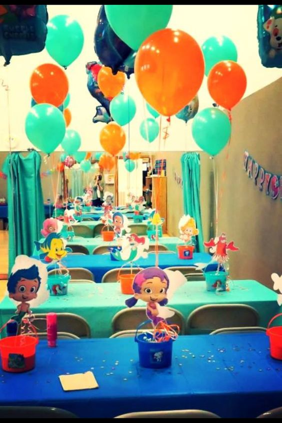 Bubble guppies party decorations bubble guppies and the little mermaid ariel under the sea - Bubble guppies center pieces ...
