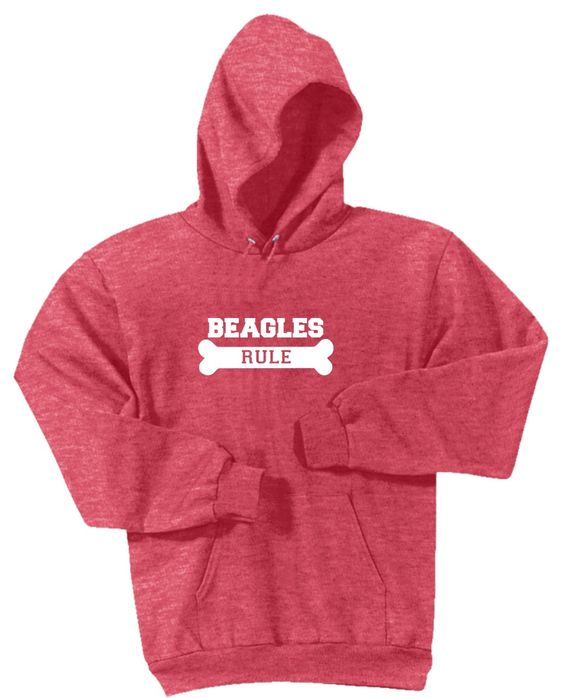 Beagles Rule Soft Finish Lettering Dog Lovers Heather Red Hoodie