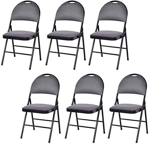 Buy Giantex 6 Pack Folding Chair Handle Hole Upholstered Padded Seat Back Metal Frame Home Office Party Use Grey Online Gotopratedseller In 2020 Folding Chair Metal Chairs Metal Folding Chairs