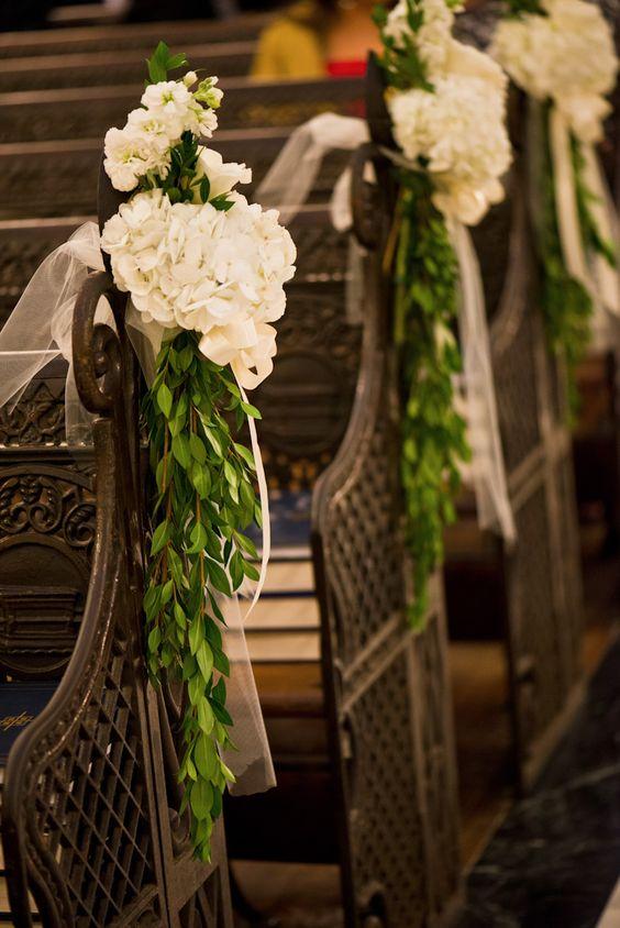 New Orleans Wedding Catholic Wedding Fat Cat Flowers Pew Decor Pew