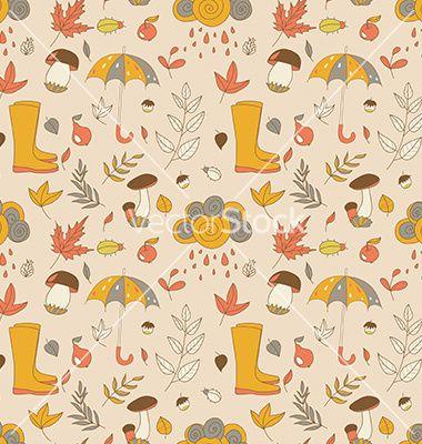 Autumn pattern seamless texture with autumn vector by Little_cuckoo on VectorStock®