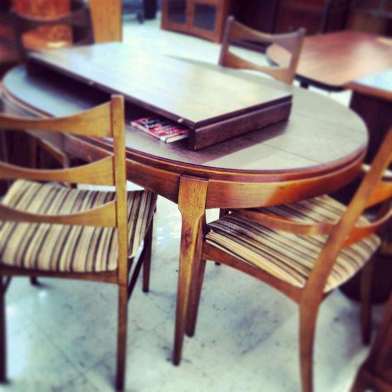 Four Lane Rhythm Walnut Mid Century Dining Chairs & Table