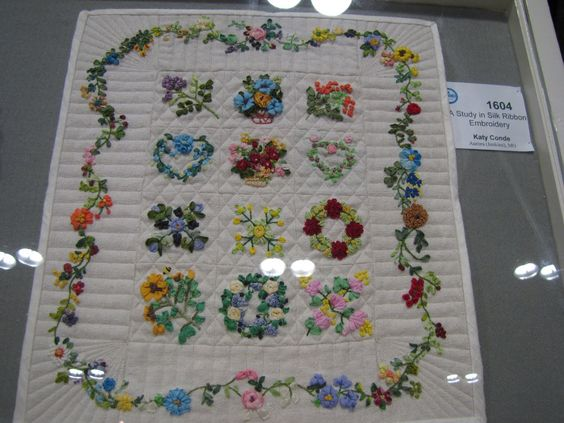 Miniature Silk Ribbon Embroidery Quilt Broderie Pinterest