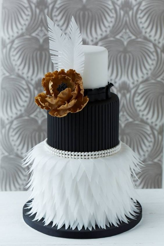 White and Black Fondant Cake with Wafer Paper Skirt, Large Flower and Feathers. | black and white wedding