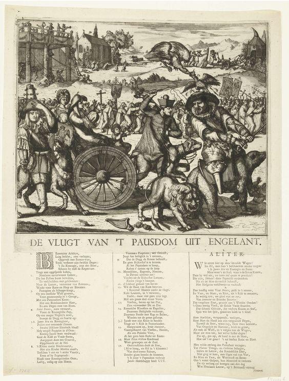 anoniem | De vlucht van het pausdom uit Engeland, 1689, circle of Romeyn de Hooghe, 1689 | De vlucht van het pausdom uit Engeland, 1689. Spotprent op Jacobus II, Lodewijk XIV en de dauphin. De Engelse koning Jacobus II vlucht met echtgenote Maria van Modena en het ondergeschoven kind op een wagen getrokken door een hond en bereden door pater Peters (Edward Petre). Rechts op een beer Lodewijk XIV (Harlekijn) die het zwaard wil trekken tegen de Nederlandse Leeuw. Links de dauphin op een wolf…