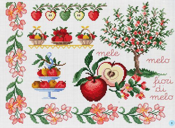 Agulhas pra que te quero ...: Ponto Cruz - Flores e Frutas