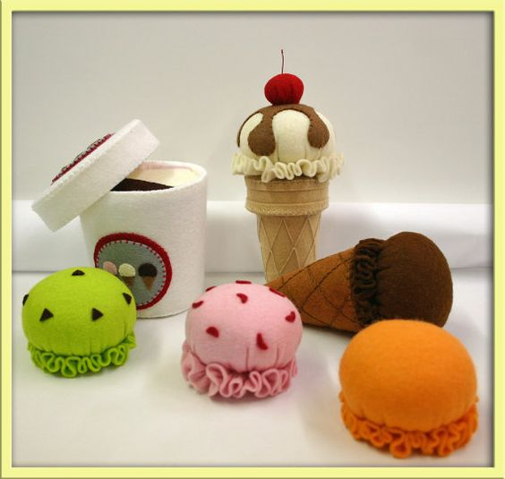 play food ice cream | ... Play Food - Ice Cream Set - Waldorf Accessory for Imaginative Play