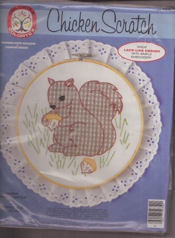 Colortex Chicken Scratch Squirrel with Acorns Kit Stamped Design #Colortex #Frame