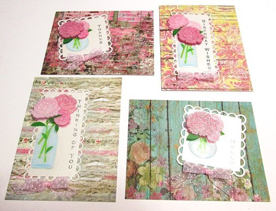Note Cards  Set of 4 Country Roads Vase of by PrettyPaperGreetings