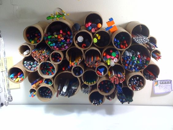 This would be cute in an art room!: Storage Idea, Diy Craft, Cardboard Tube