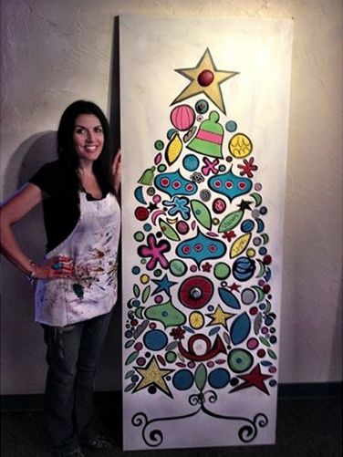 My Painted Christmas Tree on a Door! Made with acrylic paint and antique knobs glued on with Liquid Nails.  Made by Tipsy Artist. www.TipsyArtist.com Follow me on Instagram.com/TipsyArtist