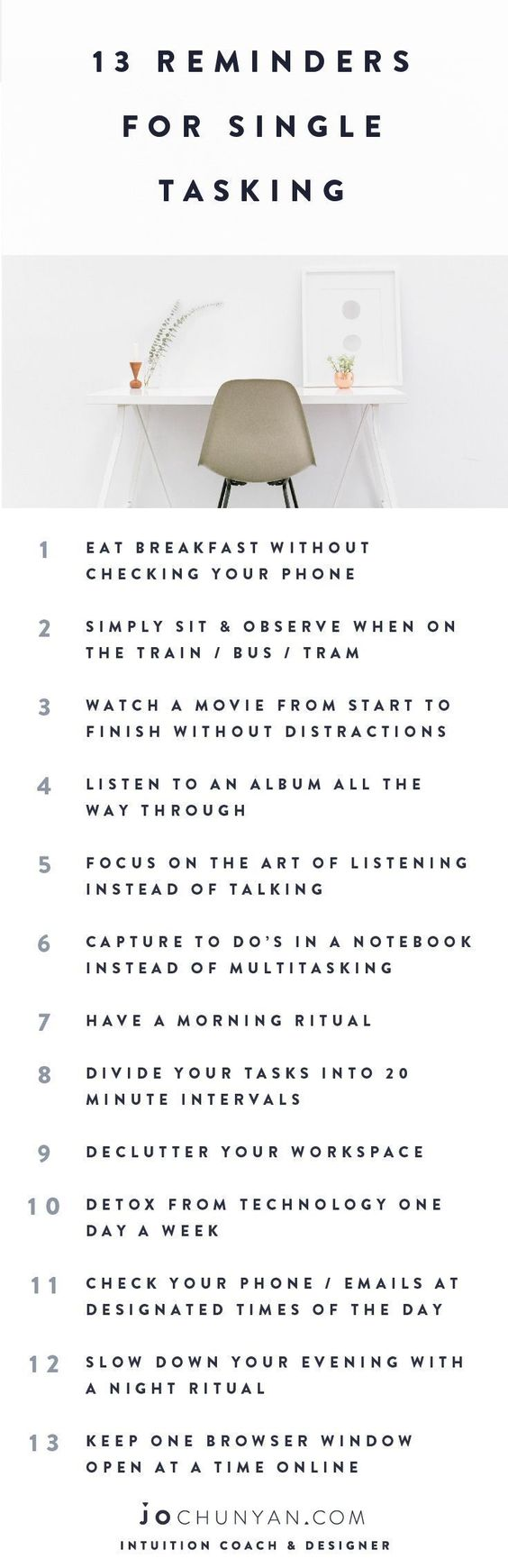 13 tips for you to be more mindfully productive.   Single Tasking | Productivity | Mindfulness | Scheduling Tips | How to Slow Down