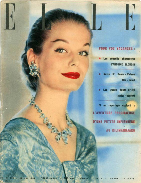 Couverture de Elle n°544 du 28 mai 1956 - Robe de soie de Jean Patou - photo…