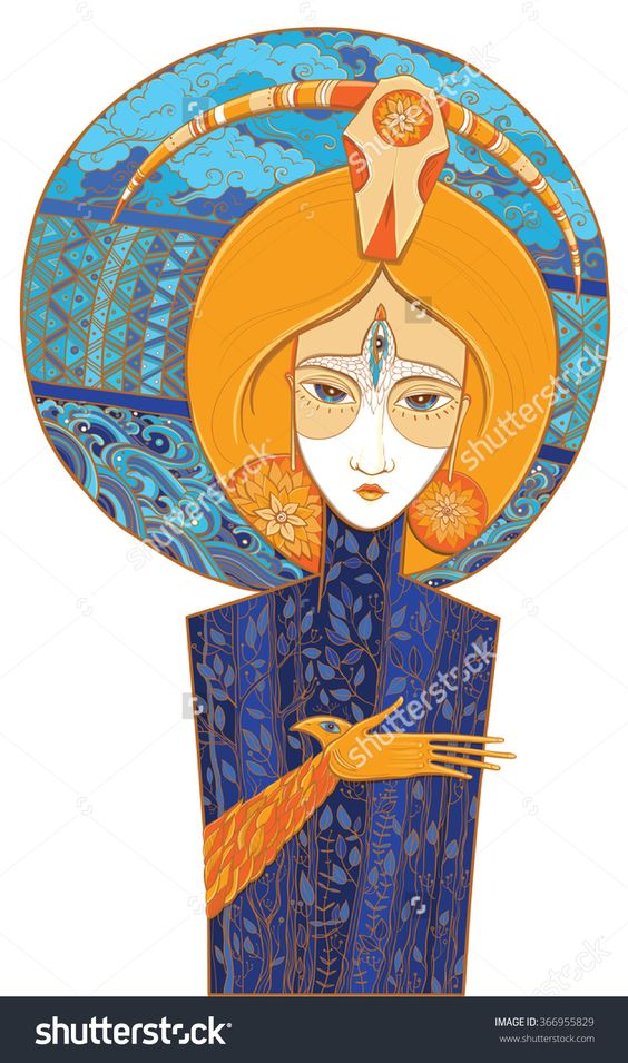 Vector Bright Color Illustration Of Mother Nature With Plants, Clouds, Waves Of Water And Third Eye. Goddess Of Birth And Death. Protect Of Environment. Ethnic Motifs. Shaman - 366955829 : Shutterstock