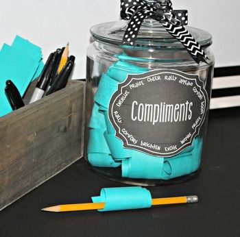 Grab a free class compliment jar label! A class compliment jar teaches students how to look for the best in others.  It's a great way to boost morale while easily gaining students' attention.  Tip: keep a list of student names by the jar.  Students must highlight the person receiving a compliment.