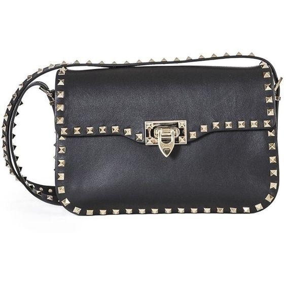 Valentino Garavani Black Rockstud Shoulder Bag (€2.410) ❤ liked on Polyvore featuring bags, handbags, shoulder bags, black, leather shoulder handbags, black studded purse, genuine leather handbags, black purse and black studded handbag