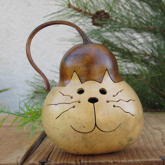 Gourd cat natural carved kitty decoration with removable for Where to buy gourds for crafts