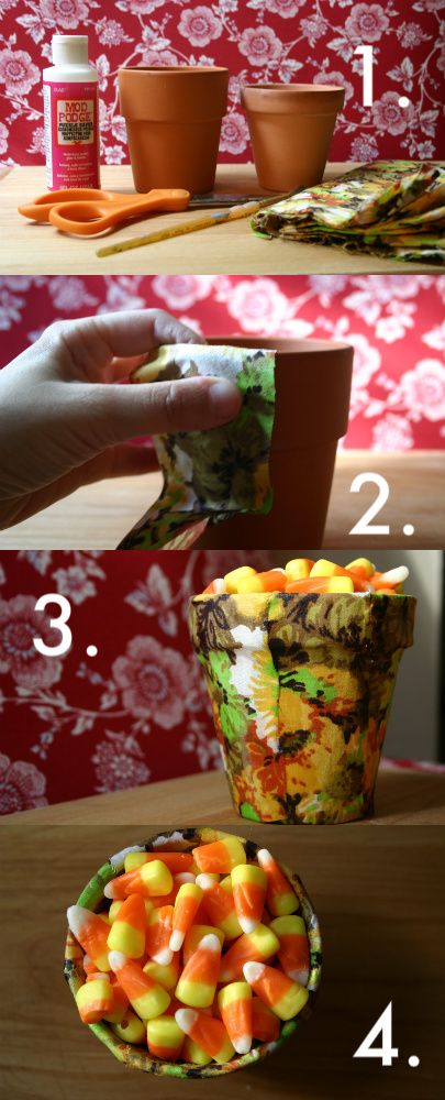 DIY candy dish from clay pot
