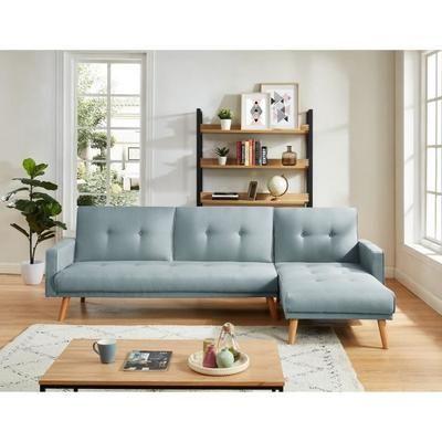 Luxi Canape D Angle Reversible Convertible 4 Places Tissu Bleu Ciel Scandinave L 271 X P 155 Cm Canape Angle Canape Fait Maison Decoration Salon Bleu