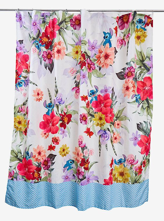 Disney Lilo Stitch Floral Shower Curtain In 2020 Floral Shower Curtains Floral Shower Lilo And Stitch