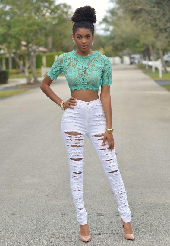 ucharper white denim destroyed highwaist skinny jeans chic couture ud