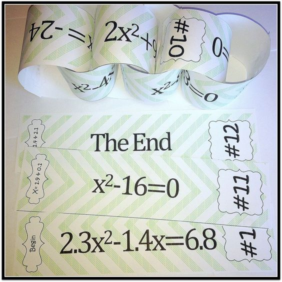 Fun way to get students to practice all the different methods of solving quadratic equations!  They build a paper chain as they correctly answer each question!!!