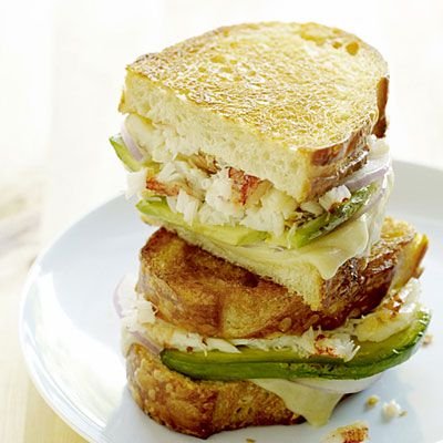 Crab and Avocado Grilled Cheese on Sourdough!!