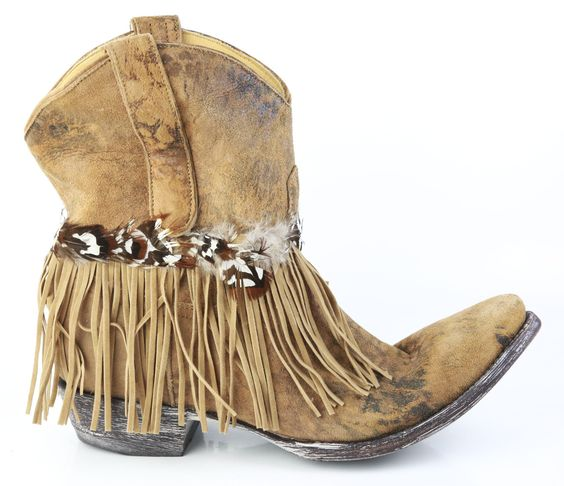 Old Gringo Tan Suede Fringe Ankle Cowboy Boots - Double Take ...