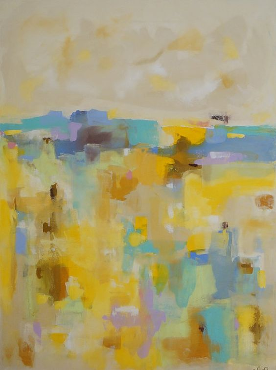 Large Yellow Abstract Landscap Original Painting by lindadonohue, $1150.00