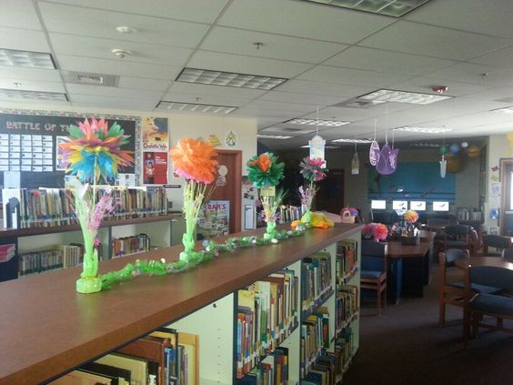 Spring Library Decor