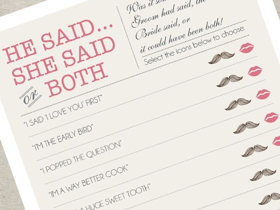 """Add a cute touch to your wedding with a """"He said, She said"""" handmade game."""