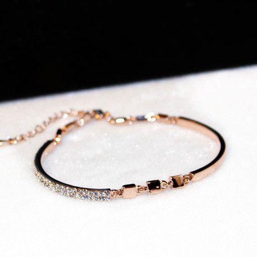 Delicate crystal rose gold plated bracelet