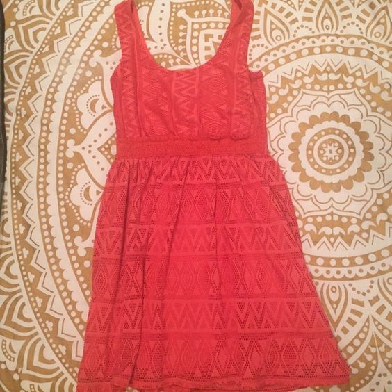 Tribal Coral Dress Super stylish and super comfy, coral colored, tribal patterned dress. Worn Once, Perfect condition! AS U WISH Dresses