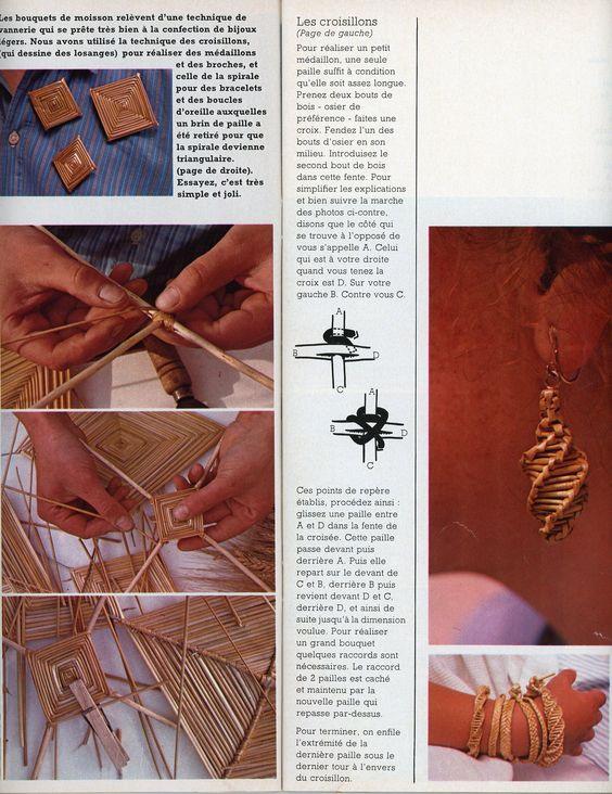 """100 Idées n° 58 - août 1978 - Article """"la fête du blé"""" réalisation Marion faver - Photos Bernard Maltaverne - bijoux de paille."""