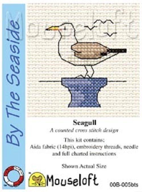 MOUSELOFT STITCHLETS CROSS STITCH KIT~ SEAGULL~ NEW~ BY THE SEASIDE
