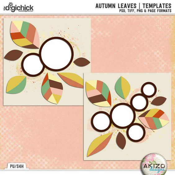 Autumn Leaves   Templates by Akizo Designs for Digital Scrapbooking Layout Page