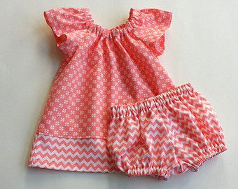 New! Baby Girl Dress and Bloomers - Infant Coral and White Flutter Sleeve Dress - Baby Girl Clothing - Size Newborn, 3m, 6m, 9m, 12m or 18m