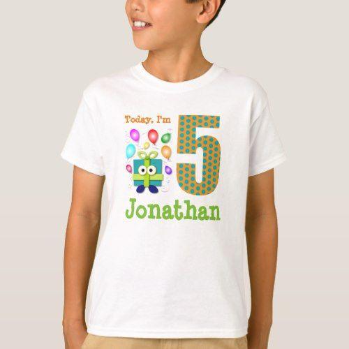 Today I M 5 Birthday Present With Balloons T Shirt Personalized T Shirts Birthday Cartoon Custom Shirts