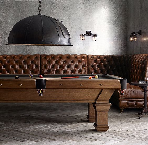 Brunswick Vintage 1906 Billiards Table great room | Love the seating around the pool table...