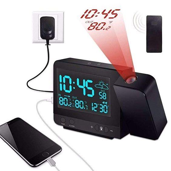 Kensent Projection Alarm Clock Digital Projection Clock With Weather Station Indoor Outdoor Thermometer Projection Alarm Clock Projection Clock Alarm Clock