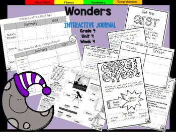 *Blackline Version *This 16 page 4th grade blackline interactive journal is aligned to Common Core and to the McGraw Hill Wonders series for Unit 4-Week 4.. This highly INTERACTIVE journal is ideal for teaching all of this week's skills in a powerful, student-friendly way!Complete Set Includes:-Essential Question/Build Background Graphic Organizer-Mini Anchor Charts for Cause and Effect, GIST, Ask and Answer Questions, Text Features, Context Clues, Genre (Expository) -Graphic…