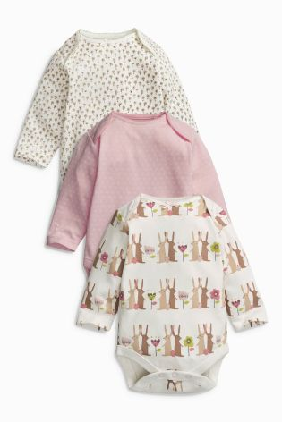 Buy Pink Bunny Long Sleeve Bodysuits Three Pack (0mths-2yrs) online today at Next: Netherlands