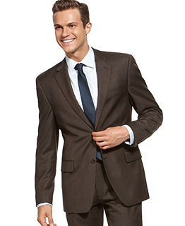 Alfani RED Suit Separates, Brown Weave Slim Fit - Mens Suits