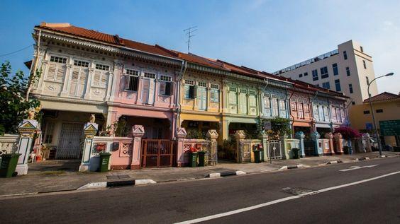 Một dãy nhà đặc trưng của người Peranakan ở Singapore