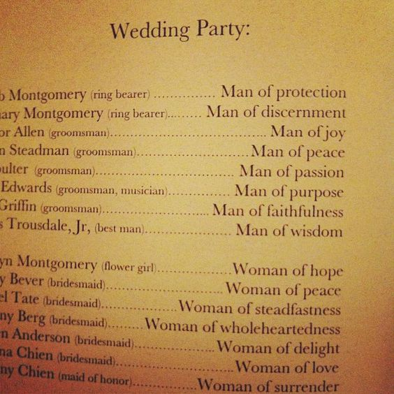 What a beautiful way to list the wedding party :)
