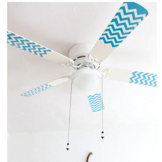 Chevron stripes on a ceiling fan.