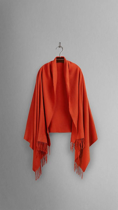 Bright russet Embroidered Cashmere Stole - Image 2
