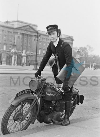 """During times of war, when telecommunications were limited and insecure, a dispatch or """"despatch"""" rider, a military messenger on motorcycle were used by armed forces to deliver urgent orders and messages between headquarters and military units. Women excelled as dispatch riders and were often seen taking their motorcycles, in the name of duty, through perilous conditions.    from motoress"""