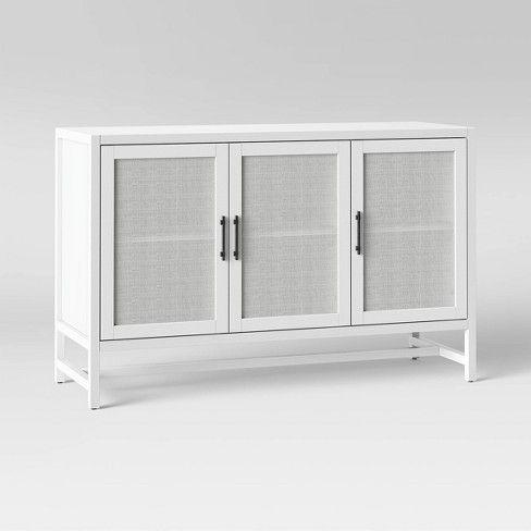 50 Warwick 3 Door Accent Media Cabinet White Threshold Media Cabinet Accent Doors White Media Cabinet