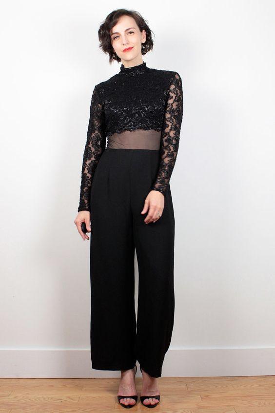 Vintage 90s Jumpsuit SHEER Black Mesh Waist Wide Leg Pants Jumpsuit 1990s Metallic Lace Long Sleeve High Waisted Pantsuit Romper XS S Small by ShopTwitchVintage #1990s #90s #sheer #mesh #lace #jumpsuit #romper #playsuit #pants #etsy #vintage